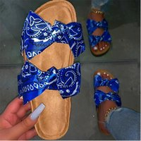 Bandana Slides for Women 2021 New Bow Bow Slifts Tie Dye Sandals Summer Graffiti Flast Footwear Flat Flat Dropshipping Dropshipping