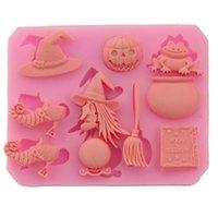 Halloween Silicone Gâteau Biscuit Moule Moule de sorcière Courbe chocolat Candy Moule à haute température Diy Décoration Cuisine Outil de cuisine