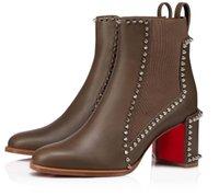 Ünlü Kış Marka Kırmızı Alt Boots Out Çizgi Spike Kadınlar Ganimet Siyah Kahverengi Hakiki Deri Bayanlar Bottes Kırmızı Taban Patik Parti Gelin Kutusu Ile Yürür