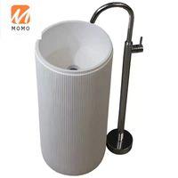 Badewanne Zubehör Set Luxus el Weiße Farbe Freistehende Handwaschbecken Solide Oberfläche Künstliche Steinbad Waschbecken Sockel
