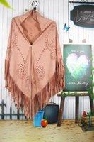 Scarves H80&S90 Women Suede Scarf Triangle Shawl Tassel Retro Hollow Geometric Big Size Fashion Pashmina For Lady