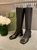 최고 품질의 여성 부츠 패션 말 걸쇠 진짜 가죽 흑백 지퍼 하이힐 가을 부츠 마틴 나이트 장화 파티