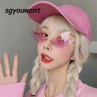 패션 독특한 잠자리 날개 모양 도둑이없는 선글라스 여성 빈티지 맑은 바다 렌즈 안경 인자 인기있는 남자 태양 안경