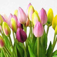 7 unids / manojo toque real suave silicona tulipanes artificiales flor para el hogar decoración de boda falsa flores de mano brida flores tulip tort.11123