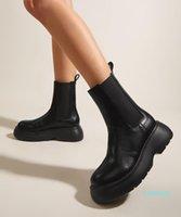 Boots Termainoov Women Winter Boot Fashion Ankle Round Toe Stretch Platform Short Female Walk