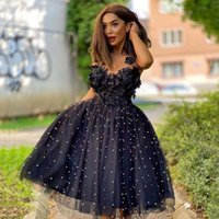 Black Sweet Short Homecoming Dress 2021 V-Neck Tulle Ball Gown Appliques Beadings Backless Women Elegant Prom Graduation Gowns H0916