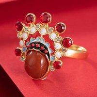 Cluster Ringe Original Design Chinesische Traditionelle Kultur Peking Oper South Red Tourmaline Offene Ring Charme Charming Frauen Marke Schmuck