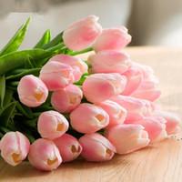 Fiori di seta PU Tulipani artificiali Real Touch Flowers Mini Tulip Bouquet Decorazioni di nozze Decorazioni per la casa BWE5032