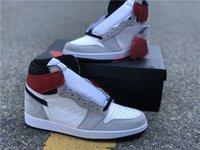 Hakiki Jumpman 1 Erkek Basketbol Ayakkabıları Gri ve Beyaz Renk Erkekler Spor ayakkabı Ayakkabı ayakkabı ayakkabı tam boy 40--46