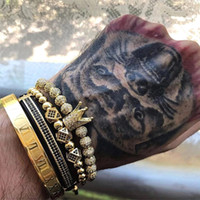 3 teile / satz + Römische Ziffer Titanstahl Armband Paar Armband / Krone / 2021 / Für Liebhaber / Armbänder für Frauen Männer Handmade Luxus Schmuck