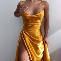 Casual Dresses Summer Sleeveless Square Collar Party Dress Satin Side Split Ruched Women's Solid Elegant Clubwear Evening Vestido