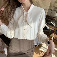 Women's Blouses & Shirts Elegant Commuting Ear Bow Tie Shirt 2021 Spring Design Feeling Base