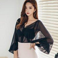 Женские блузки Рубашки LLZACOOSH 2021 Весенние Женщины Bowknot Длинные Рукава Рубашка Рубашка Перл Офис поворотный воротник Блуза