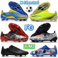 كرة القدم المرابط الأحذية x ghosted 1 fg عميق الأزرق الأصفر الوردي الأسود الأحمر الذهب فولت الأبيض الأزياء الفاخرة رجل مصمم كرة القدم أحذية رياضية