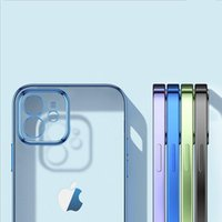 Square Frame Electroplating Matte Transparent Gel Phone Cases for iPhone 13 12 11 Pro XS Max Mini X XR iPhone13 Clear Silicone Case Cover