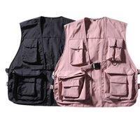 Vests Hop Pink Vest Tactical Mens Waistcoat Cargo Pockets With Loose Sweatshirts Hip Streetwear Coat Sportswear Jacket Auree