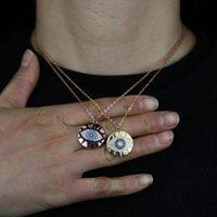 Anhänger Halsketten Drop Blau Türkis Weiß Schwarz Zirkonia Cz Gepflasterte Geometrische Runde Münze Türkische Böse Auge Frauen Halskette