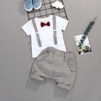 Kinder Jungen Weiße Hochzeitsfeier Geburtstagskleidung Sets England Stil Gentleman T-shirt + Shorts Kleinkind Junge lässig Outfits Anzüge