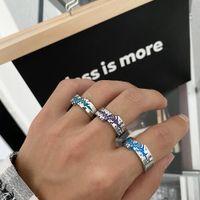 Original Niche Design Texture Color Irregular Ring Men And Women Ins Cool Neutral Titanium Steel Jewelry Accessories