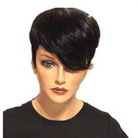 Sommerstil Kurzer Bob Spitze Perücke Brazilian Remy Haare Perücken Kurzer menschliches Haar Perücken Gerade Menschliches Haar Bob Perücke Für Schwarze Frauen