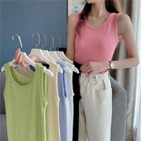 Women's Tanks & Camis Sexy Tanke Tops Women Off Shoulder For Womens Sleeveless Solid Color Camisole 2021 Summer Omighty Slim Fit