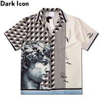Темный значок напечатанный рубашка поло мужчин Летняя улица Мужские рубашки Гавайский мужчина