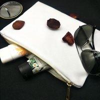 7x10in blanc blanc sac poly pour sac cosmétique imprimé sublimation chaleur 12ozthick canvas maquillage 12 oz avec zip métallique pour transfert d'impression c qfox