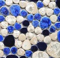 2021 Navy Blue White Pebble Porcelan Mozaika Kuchnia Backsplash Płytki PPMTS09 Ceramiczne płytki ścienne łazienkowe