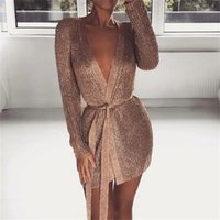 Casual Dresses Perspective Knitted Cardigan Sweater Dress Bronzing Color Club Party Bodycon Deep V-neck Long Sleeve Sashes Jacket