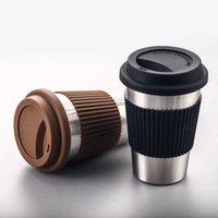Edelstahl Kaffeetassen Tragbare Trinkbecher mit Silikondeckel Reisen Wasser Coke Cup Wein Tumbler Gerade Tasse Wasserflasche