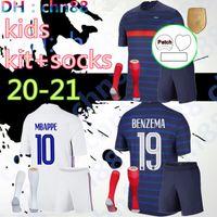 2021 2022 2 نجوم فرنسا Soccer Jersey Mbappe Benzema Grizmann Kante Pogba Mailleot De Foot Euro 20 21 Kids Kits + Socks Set قمصان كرة القدم الشباب