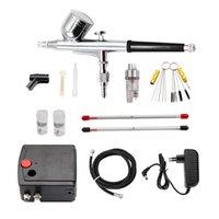 Dual Action Airbrush Compressor Kit Air-Brush paint Spray Gun Sandblaster Sandblast gun for Art car model Tattoo Nail Tools Set