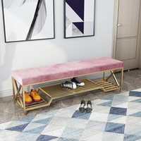 Luxury Iron Shoes Stool Home Sofa Door Long Bench With Storage Rack Ottoman Pouf Banco Zapatero Customize Color