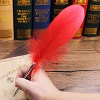 14 Colors Fashion Feather Quill Ballpoint Pen For Wedding Gift Office School Kawaii Supplies cheap sale