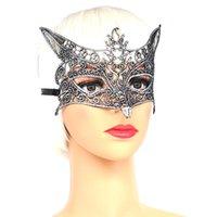 Máscara de fiesta Lobo cabeza encaje colorido bronceado plata divertido ojo halloween mujeres productos