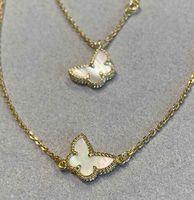 2021 Nuovo arrivo V Materiale dell'oro Braccialetto di forma della farfalla e collana di forma con la conchiglia bianca per le donne Regalo dei monili di fidanzamento Trasporto libero