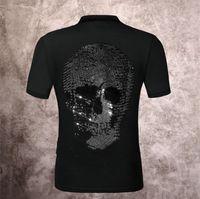 21SS 탑스 망과 여성 디자이너 해골 다이아몬드 티셔츠 까마귀 코트 폴로 티셔츠 크루 넥 셔츠 P0707
