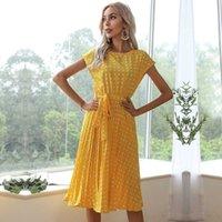 Casual Dresses 2021 Decent Summer Dress Polka Dots Short Sleeve Pleated Maxi Long Party Clothing Women Midi Elegant Office Lady Evening
