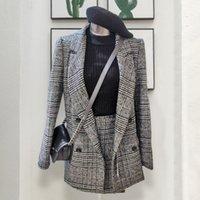Bahar CBAFU Sonbahar Uzun Kollu Ceket Kaban Dış Giyim Ekose Tüvit Etekler Takım Elbise 2 Parça Setleri Kadınlar Lnvz Suits
