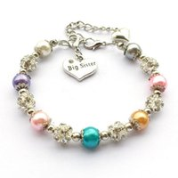 Charm Bransoletki Duża Siostra Bransoletka Biżuteria Prezent Dla Siostry Handcrafted Glass Pearls Koralik