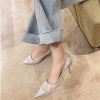 Giyu Nouveau Style Chaussures Femmes Nouveau Style Single Chaussure Polyvalent Aller avec Work Chaussures Femme Femme Poiny Loisirs Party High Heel Gauze Com 210226