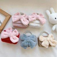 Diaper Bags Cute Children Girl Shoulder Bag Fashion Baby Bow Velvet Pearl Chain Shining Messenger Kids Purse Princess Mini