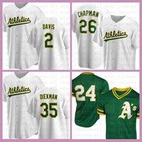 Oakland Baseball Jersey Athlétisme Custom 2 Khris Davis 26 Matt Chapman 24 Rickey Henderson 35 Jake Diekman 44 Jesus Luzardo 10 Marcus Semien