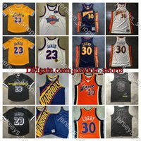 Jerseys de vintage LeBron James Stephen Curry Cara grande cosido Mitchell Ness HardwoodsClassics Black White Shirts Jerseys de baloncesto