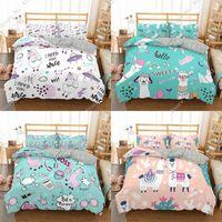 Bedding Sets 3PCS Cartoon Lovely Alpaca Pattern Set Queen Size Duvet Cover Comforter Bed Bedclothes Quilt Multiple