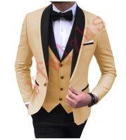 Beau toilettes One Bouton Groom Tuxedos Châle Revers Hommes Costumes Mariage / PROM / Dîner Homme Blazer (veste + pantalon + cravate + gilet) W607