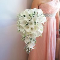 2021 New Ivory Calla Lilies with White Bell orchid Artificial Flowers Waterfall Design Wedding collection set Jewelry Cascading bouquet de mariage