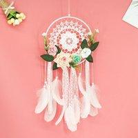 Dream Catcher DIY decorativo colgante flor floral catcher pared colgante decoración decoración de boda dreamy niña habitación decoración regalo