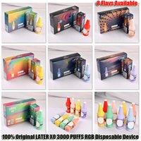 100% original plus tard xo 3000 bouffées grandes de grandes cigarettes électroniques 1100mAh Batterie pré-chargée de 8,0 ml Pod RGB Light Vape Pens Dispositif 8 couleurs