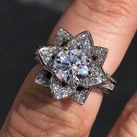 클러스터 반지 빈티지 꽃 실험실 다이아몬드 CZ 반지 925 스털링 실버 Bijou 약혼 결혼식 밴드 여성을위한 신부의 매력 파티 쥬얼리